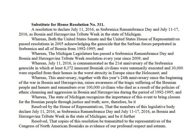Zastupnički dom države Michigan usvojio Rezoluciju: Od 11. – 17. jula - Sedmica  sedmica počasti žrtvama genocida i državi BiH