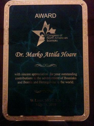 Interview: Dr. Marko Attila Hoare, recipient of the 2010 CNAB Award