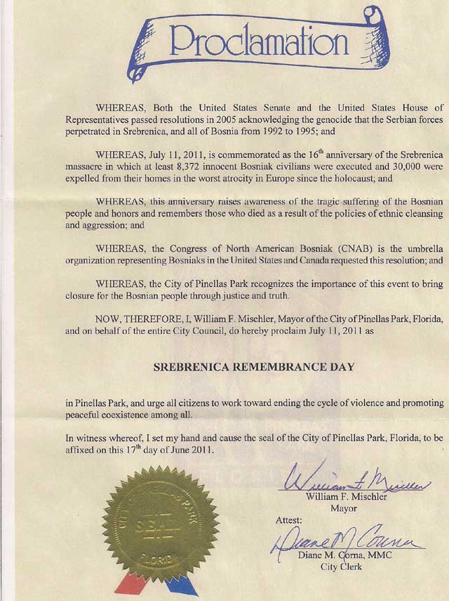 Na Floridi Usvojene Dvije Proklamacije Za 11. Juli - Dan Sjećanja na Žrtve Genocida u Srebrenici